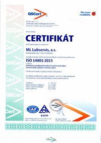 Certifikát o využití environmentálneho manažérstva ISO 14001:2004